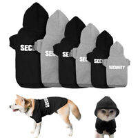 Black/Grey SECURITY Dog Coats Chihuahua Clothes Sweatshirt Pet Puppy Cat Jacket