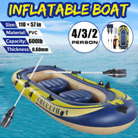 3/4Person 8 FT Inflatable Dinghy Boat Fishing Tender Rafting Water Sports W/Pump