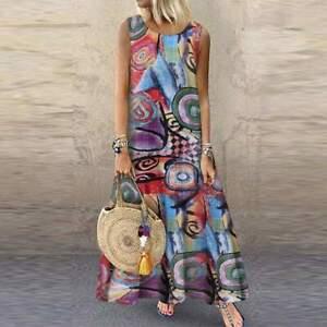Women Bohemian Sleeveless Floral Printed Sundress Summer Dress Robe Vintage