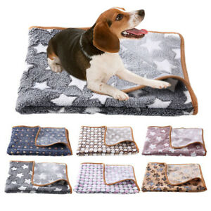 Winter Puppy Cat Kennel Pad Bed Mat Pet Soft Fleece Pad Blanket Flannel S/M/L/XL