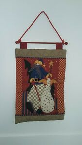 Quilted Snowmen Door or Wall Hanging Winter Christmas Hannukah Yule 100% Cotton