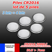 LOT DE 5 PILES CR2016 BR 2016  3V NEUVES ULTRA LONGUE DUREE DUO 2020