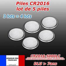 LOT DE 5 PILES CR2016 BR 2016  3V NEUVES ULTRA LONGUE DUREE DUO 2020