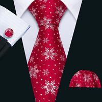Christmas Mens Red Ties Snowflakes Santa Claus Necktie Pocket Square Set