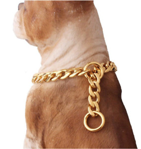 19MM14k Gold plated 316L stainless steel cuban link Dog training collar