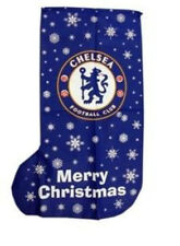 CHELSEA F.C JUMBO CHRISTMAS STOCKING OFFICIAL PRODUCT BLUE SNOWFLAKES WHITE