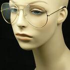 Clear aviator lens sun glasses frames nerd geek retro vintage style metal new