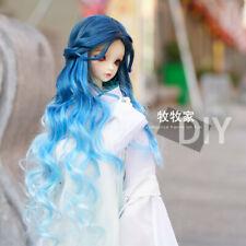 Gradient colour Blue Long Curly Hair for bjd VOLKS SD DD MDD 1/2 1/3 1/4 1/6 Wig