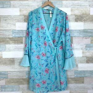 Cacique Lane Bryant Floral Lingerie Robe & Panty Set Blue Pink Womens 22 24 26