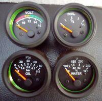 "2"" / 52mm Electrical Oil Pressure Bar Temperature Volt Fuel Gauge -Black"