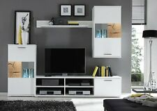 Modern living room set, wall unit in white colour with oak inserts Spalt 1