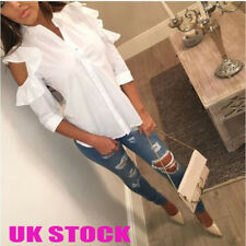 UK Womens Puff Cold Shoulder Tops Ladies Casual Collared Shirt Blouses 6 - 18