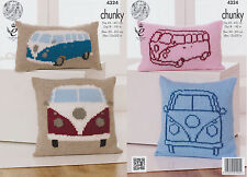 King Cole Chunky Knitting Pattern VW Camper Van Knitted Cushions Vintage 4324