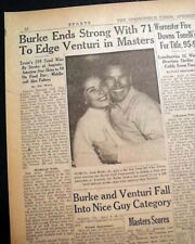 THE MASTERS TOURNAMENT Jack Burke, Jr. Wins Golf Major at Augusta 1956 Newspaper