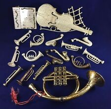 Vintage Gold Glitter & Gold-Colored Instruments & Staff Christmas Holiday Decor