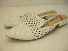Women's sz 8.5 M Sam Edelman Clara White Woven Leather Mules Shoes Slip-On Flats