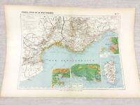 1888 Antique Map of France Marseilles Nice Toulon FRENCH Original 19th Century
