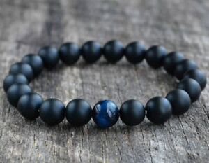 Natural Blue Tiger Eye & Matte Onyx Gemstone Round Beaded Men Women Bracelet 8MM