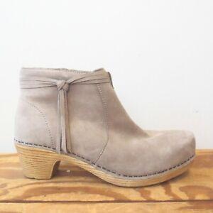 38 - Dansko Gray Leather Markie Side Zip Tassle Ankle Boots Booties 0519HK