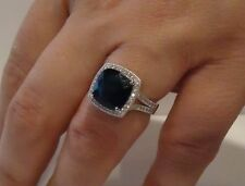 SQUARE HALO RING W/ 6 CT SAPPHIRE & ACCENTS / SZ 5 - 9 / 925 STERLING SILVER