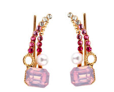 Ear Cuff Pins Trails Upwards Pair Earrings Gold Plated Austrian Pink Crystal