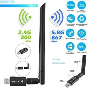 WLAN Adapter USB 3.0 Stick 1200 Mbps WiFi Dual 5GHz Dongle Antenne PC Windows 10