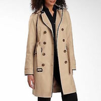 Worthington Women's Tan Black 3/4 Raincoat Trench Jacket Water Repellant Large
