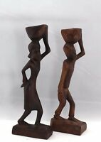 """Vintage Hand Carved African Woman & Man Carrying Jug Wood Sculpture 8"""""""