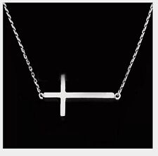 "Gold Silver Stainless Steel sideways cross pendant necklace 18"" chain Box PE11"