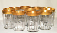 Set (11) GOLD ENCRUSTED FLAT GLASS TUMBLERS Flared~Optic Tiffin/Bryce/Morgantown