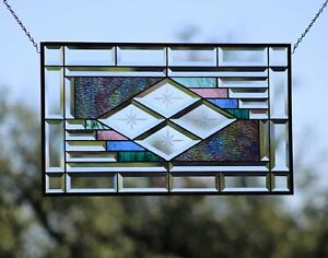 """AURORA"" Beveled Stained Glass Window Panel, Transom ≈24 ½"" x 14½""-Ready to hang"