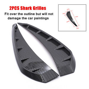 2X Universal ABS Plastic Carbon Fiber Style Side Door Fender Vent Air Wing Cover