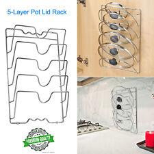 Wall Mount Pot Pan Lid Storage Rack Steel Kitchen Cabinet Door Holder Space US