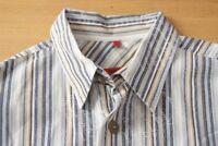 Q249 Signum Red Gr. M - gestreift blau weiß gelb Herren Hemd Kurzarm Herrenhemd