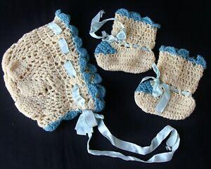 Vintage 1940's Crochet Knit Baby Doll Bonnet & Booties Blue Satin Ribbon