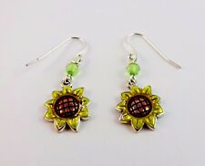 Sunflower Earrings Drop Dangle Green Crystal Fish Hook Wires Pierced Ears