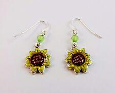 Sunflower earrings dangle green crystal fish hook wires pierced ears