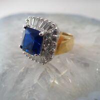 High End Royal Blue Spinel Rock Quartz Surround Statement Size 8 Gold Tone Ring
