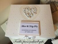 PERSONALISED WEDDING WHITE WOOD KEEPSAKE/MEMORY BOX VINTAGE SHABBY CHIC STYLE