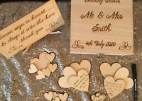 Wedding Guest Book - Personalised Wooden Rustic Alternative Heart Wish Box