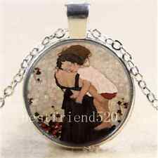 Mother and Child Photo Cabochon Glass Tibet Silver Chain Pendant Necklace