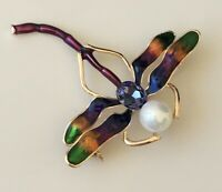 Unique vintage style  Dragonfly brooch in enamel on metal
