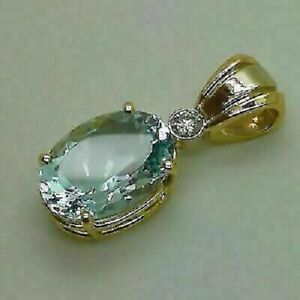 3CT Oval Cut Aquamarine Pendant Necklace 14K Yellow Gold Finish With Chain