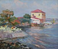 Original Cafe near Sea Pier Landscape Oil Artwork Impressionism ART