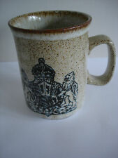 DUNOON CERAMICS STONEWARE QUEEN MOTHER 80TH BIRTHDAY MUG 1980 NEW AND UNUSED