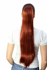 Hair Piece/ Braid Red Very Long Smooth Butterfly Clip Approx. 70 CM T113-350