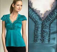 Nanette Lepore Silk Top Blouse Size 6 Small NWT Lace Teal Green Evocative $280