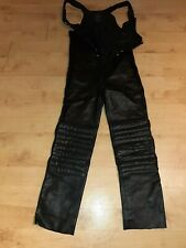 Hein Gericke Black Leather Motorcycle Trousers Bib Overalls Size 54