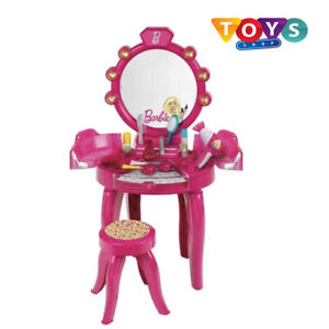 Barbie Vanity Table With Stool & Mirror Full Accessory Play Set Girls Pink New