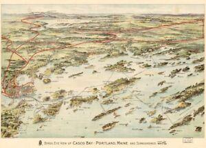 18 x 24 1906 Map Birds Eye View of Casco Bay, Portland, Maine and Surrounding